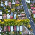 A view from directly above a residential suburb of Melbourn, in Victoria State, Australia.